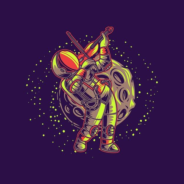 T-shirt design astronauta che suona il violino contro l'illustrazione di sfondo luna Vettore Premium