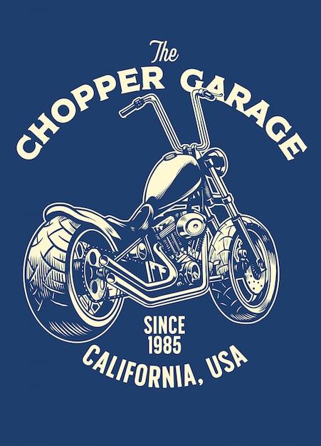 Design t-shirt del garage per moto chopper Vettore Premium