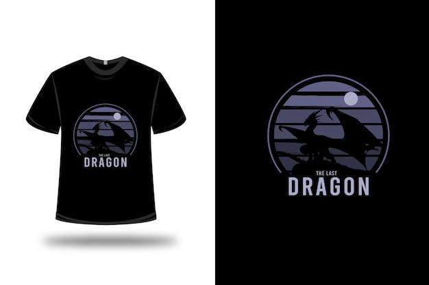 Design della maglietta. l'ultimo drago in viola e nero Vettore Premium