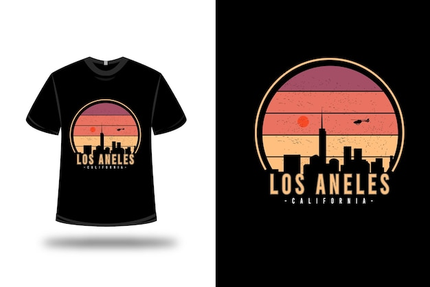 Design della maglietta. los angeles in giallo e arancione Vettore Premium