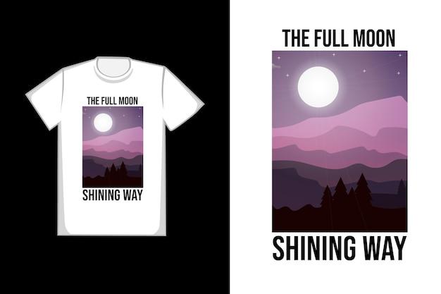 T-shirt con la luna piena che splende Vettore Premium