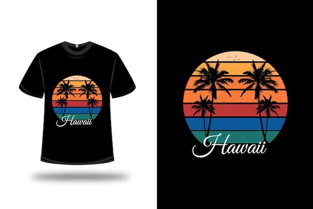 T-shirt hawaii colore verde giallo e arancio Vettore Premium
