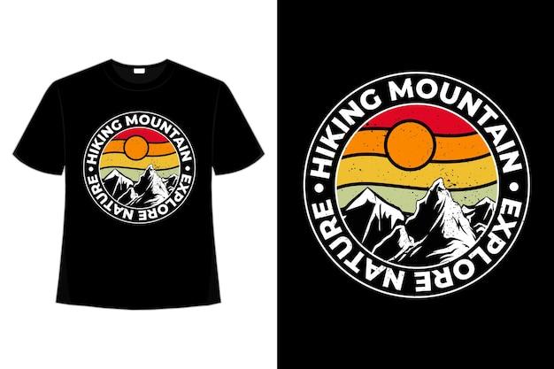 T-shirt montagna esplorare la natura retrò vintage Vettore Premium