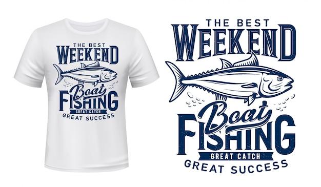 Stampa t-shirt, club di pesca del tonno, grande pescato Vettore Premium