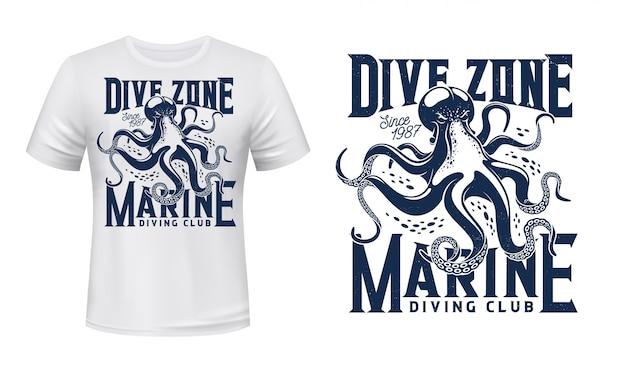 T-shirt stampata con polpo per scuba dive club Vettore Premium