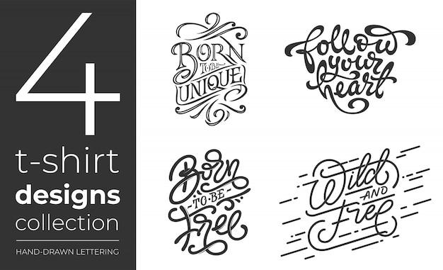 Collezione di t-shirt su sfondo bianco. set di lettere per t-shirt. collezione di tipografia manoscritta vintage. illustrazione per tipografie. Vettore Premium