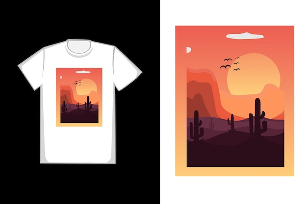 T-shirt sahara nel sole del pomeriggio tramonta Vettore Premium