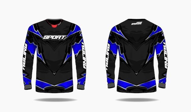 T-shirt modello di design sportivo, vista anteriore e posteriore uniforme modello manica lunga. Vettore Premium