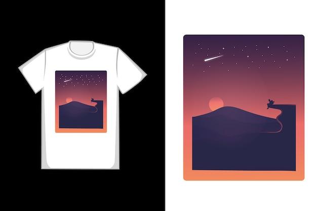 T-shirt il sole tramonta nei toni dell'arancio e del nero Vettore Premium