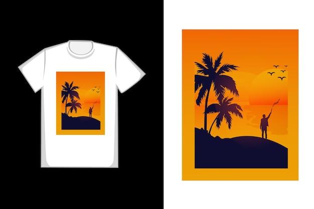 T-shirt tramonto in spiaggia Vettore Premium