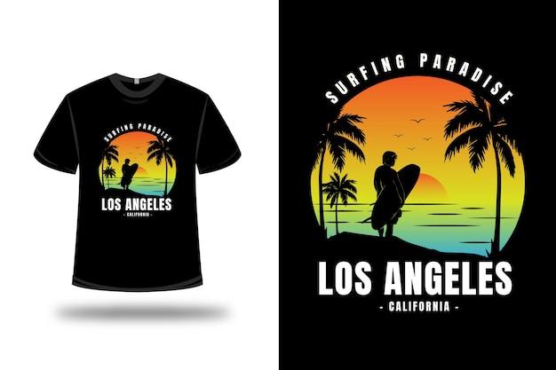 T-shirt surf paradise california colore giallo arancio e blu Vettore Premium