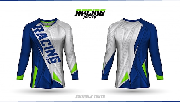 Modello t-shirt, design maglia da corsa, maglia da calcio Vettore Premium