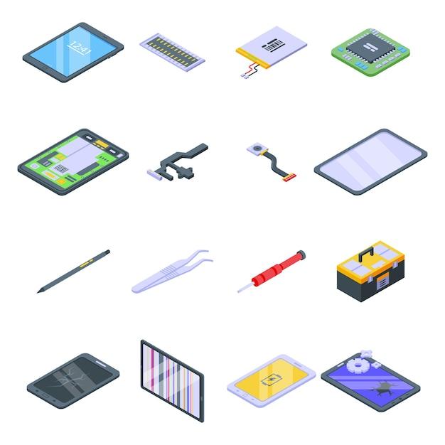 Set di icone di riparazione tablet. insieme isometrico delle icone di riparazione del tablet per il web isolato su priorità bassa bianca Vettore Premium
