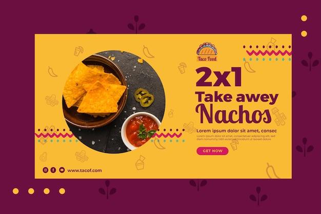 Modello dell'insegna del ristorante dell'alimento di taco Vettore Premium