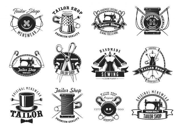 Sartoria, atelier sarta icone di cucito Vettore Premium