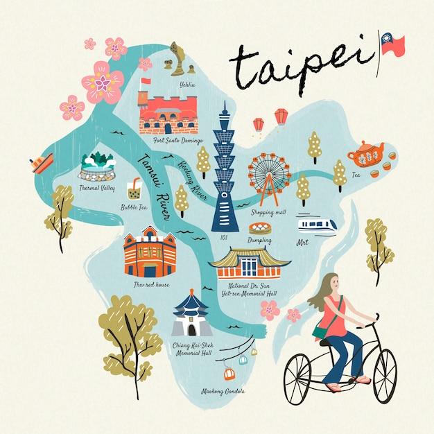 Raccolta di simboli di viaggio di taiwan, attrazioni famose in stile disegnato a mano e deliziosi snack a taipei Vettore Premium