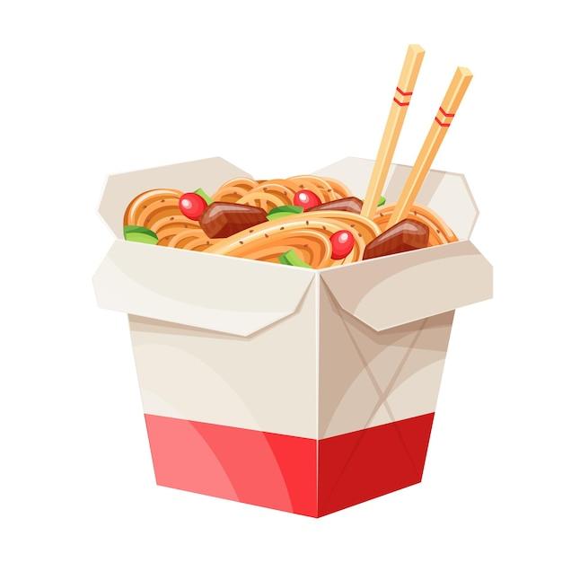 Tagliatelle di scatola wok di cartone da asporto con verdure e maiale fritto Vettore Premium