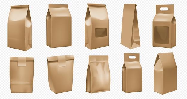 Modello di pacchetto da asporto per alimenti. borsa marrone per la confezione. il sacchetto asportabile realistico degli alimenti a rapida preparazione deride sull'insieme isolato. scatola di carta bianca per caffè e tè. maneggiare il contenitore di cartone Vettore Premium