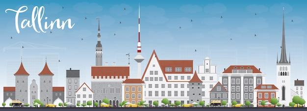 Orizzonte di tallinn con edifici grigio e cielo blu. Vettore Premium