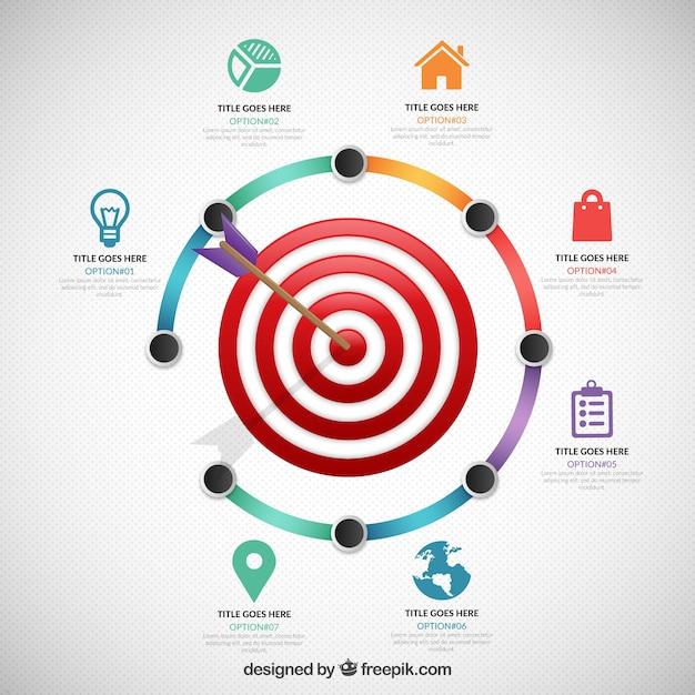 Obiettivo affari infografica Vettore Premium