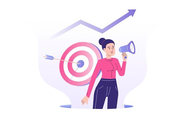 Obiettivo concetto di marketing con donna manager pr che attira i clienti con il megafono Vettore Premium