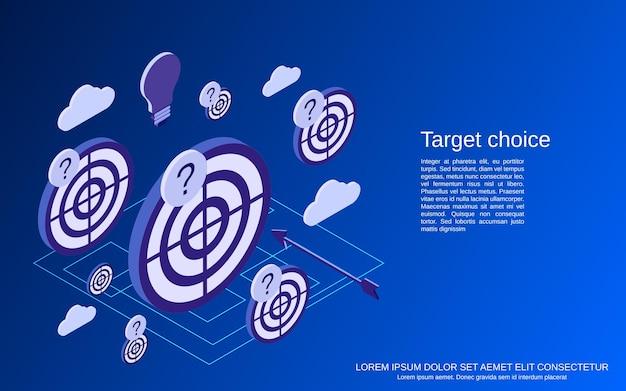 Obiettivo, strategia, concetto isometrico piatto di scelta della soluzione Vettore Premium
