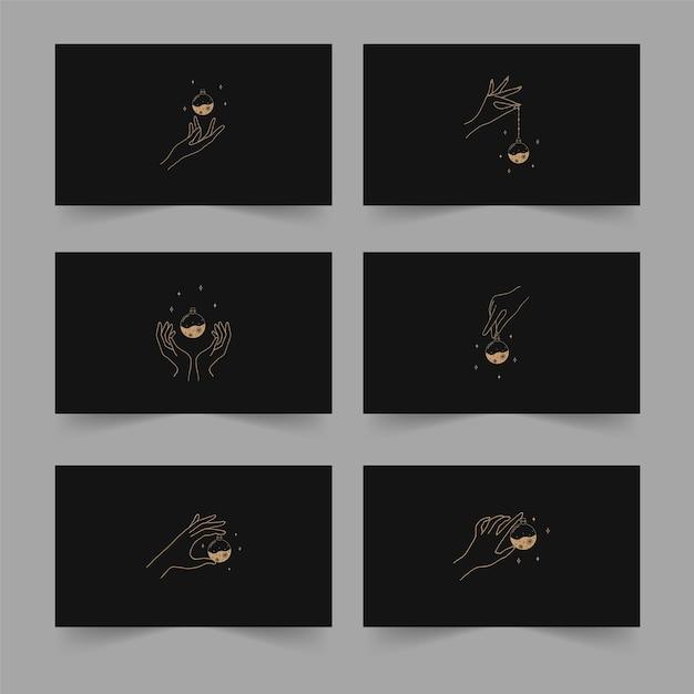 Illustrazione vettoriale di tarocchi in stile boho con mani lineari, pozioni mistiche e stelle. concetto di stregoneria per i lettori di tarocchi. Vettore Premium