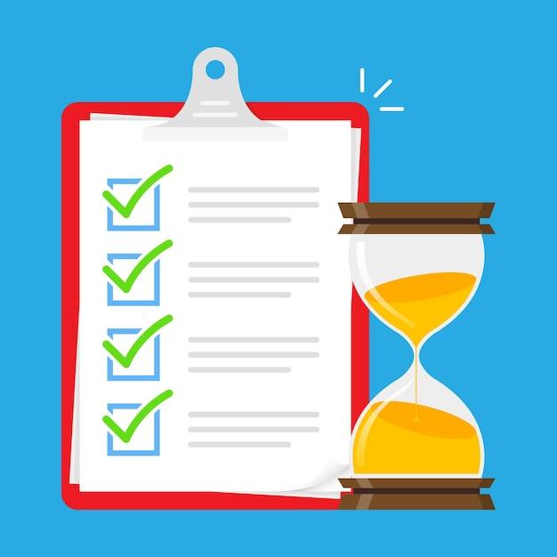Elenco attività test time illustrazione Vettore Premium