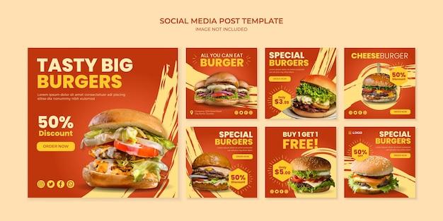Modello di post instagram di social media gustoso hamburger Vettore Premium