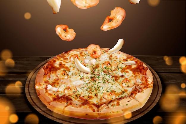 Annunci di gustosi frutti di mare pizza con gamberetti volanti e anello di calamari nell'illustrazione 3d, sfondo glitter tavolo in legno Vettore Premium