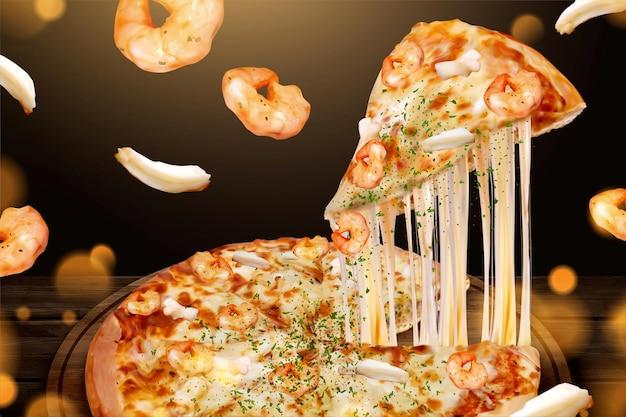 Gustose pubblicità di pizza di pesce con formaggio a pasta filata nell'illustrazione 3d, gamberetti e ingredienti ad anello di calamari Vettore Premium