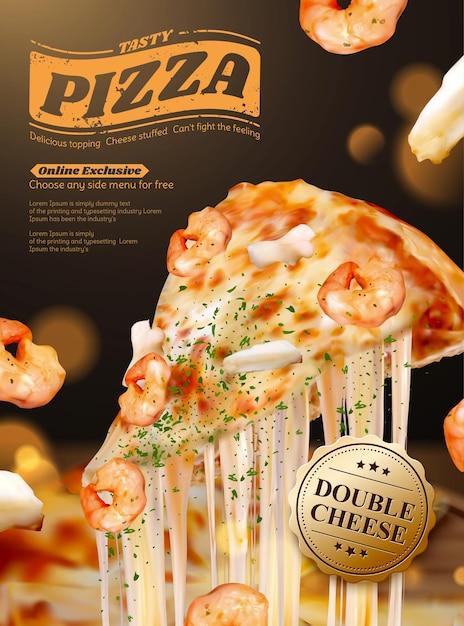 Gustose pubblicità di poster di pizza di pesce con formaggio a pasta filata in illustrazione 3d, gamberetti e ingredienti ad anello di calamari Vettore Premium