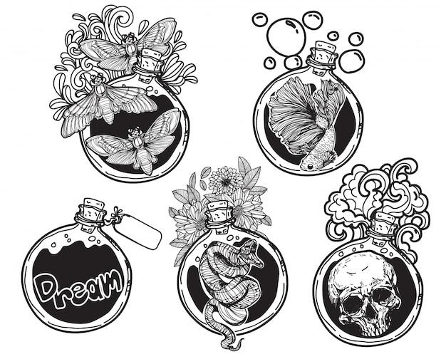 Tatuaggi le cose rotonde dell'imballaggio della bottiglia di vetro di arte con la linea illustrazione di arte isolata Vettore Premium
