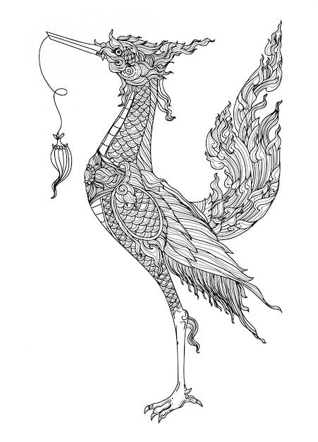 Schizzo tailandese del disegno della mano della letteratura del modello dell'uccello di arte del tatuaggio Vettore Premium