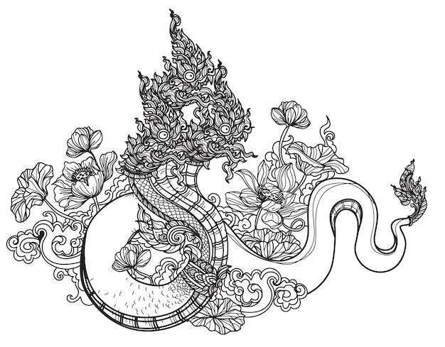 Schizzo tailandese del disegno della mano della letteratura del modello del serpente di arte del tatuaggio Vettore Premium