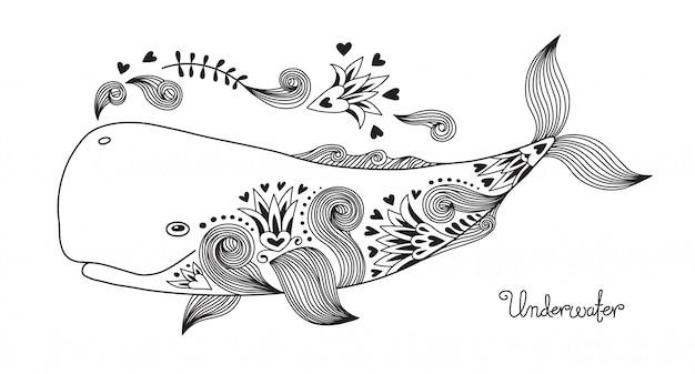Tattoo happy whale. Vettore Premium