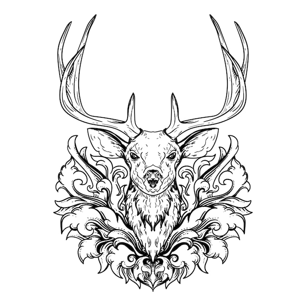Tatuaggio e t-shirt design illustrazione disegnata a mano in bianco e nero testa di cervo e incisione ornamento Vettore Premium