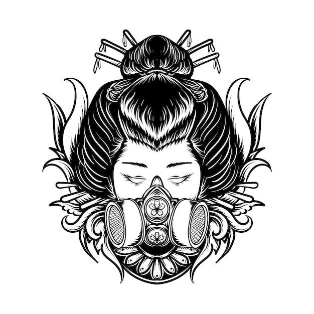 Tatuaggio e t-shirt design in bianco e nero illustrazione disegnata a mano geisha con incisione maschera antigas Vettore Premium