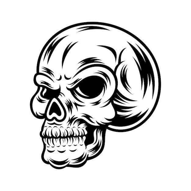 Tatuaggio e t-shirt design in bianco e nero illustrazione del cranio Vettore Premium