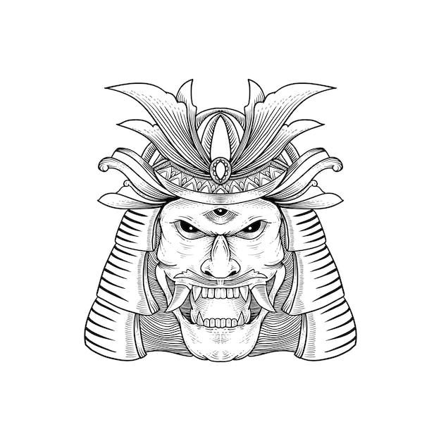 Disegno del tatuaggio e della maglietta disegnato a mano dalla cultura giapponese - samurai, shogun Vettore Premium