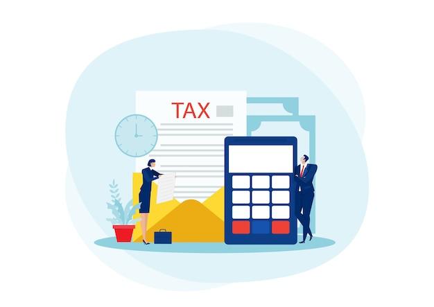 Analisi finanziaria fiscale, uomini d'affari che calcolano il documento per le tasse piatto Vettore Premium