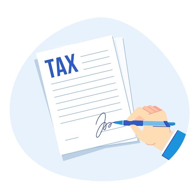 Firma del modulo fiscale. rapporto delle imposte sulle società, illustrazione di contabilità e fiscalità delle imprese finanziarie Vettore Premium