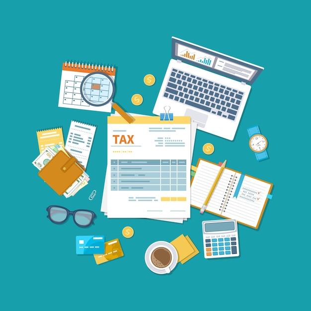 Concetto di pagamento delle tasse. tassazione del governo statale, calcolo della dichiarazione dei redditi. Vettore Premium