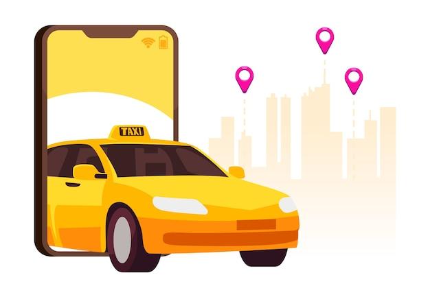 Concetto di interfaccia app taxi Vettore Premium