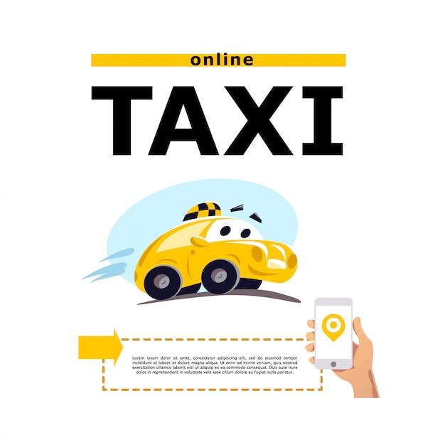 Illustrazione di auto taxi su sfondo bianco. stile cartone animato. auto guida carina divertente. modello di logo del servizio taxi. Vettore Premium