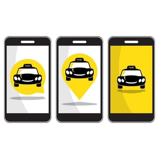 Icona di taxi su smartphone Vettore Premium