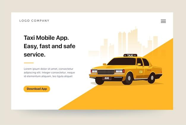 Modello di sito web di app per servizi di taxi Vettore Premium
