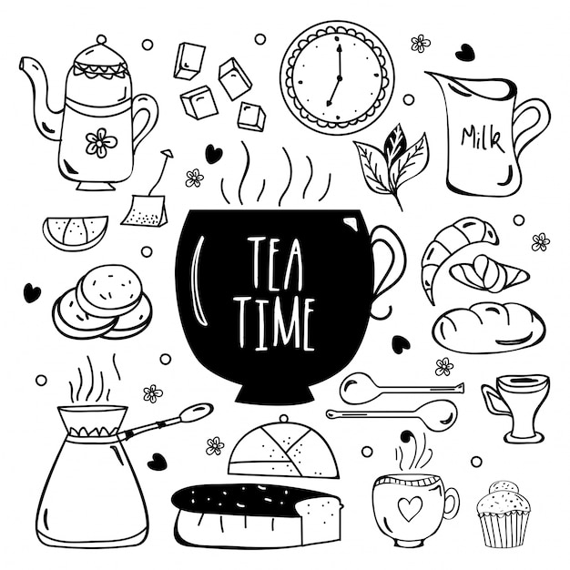 Tea time mano disegnato elementi di doodle raccolta. Vettore Premium