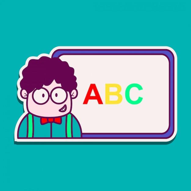 Insegnante cartoon doodle kawaii sticker illustrazione Vettore Premium