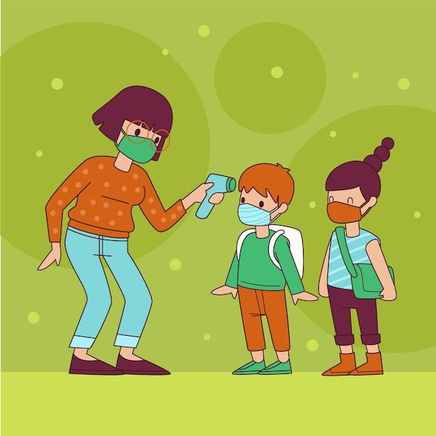 Insegnante che controlla la temperatura dei bambini Vettore Premium